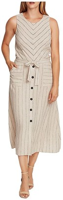Vince Camuto Sleeveless Natural Stripe Two-Pocket Tie Waist Dress (Light Stone) Women's Clothing