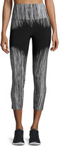 Norma Kamali Fringe-Print High-Rise Cropped Sport Leggings