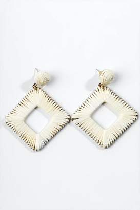 francesca's Yasmin Raffia Diamond Drop Earrings - Natural