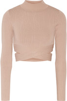 Jonathan Simkhai Cropped cutout textured stretch-knit turtleneck top