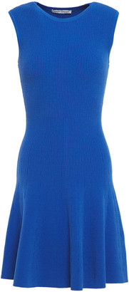 Autumn Cashmere Pointelle-trimmed Ribbed-knit Mini Dress