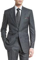 Tom Ford Windsor Base Peak-Lapel Irregular-Check Suit, Charcoal