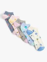 John Lewis & Partners Watercolour Flowers Trainer Socks, Pack of 5, Multi