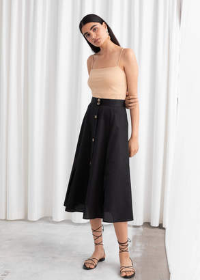 And other stories Flared Button Up Midi Skirt