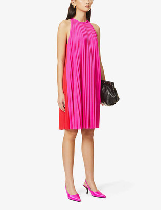 Diane von Furstenberg Amberly colour-block pleated crepe midi dress