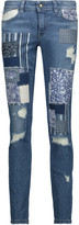 Just Cavalli Distressed patchwork low-rise skinny jeans