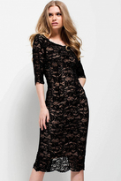 Jovani 52085 Quarter Sleeved Scalloped Lace Dress