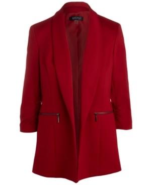 Kasper Shawl-Collar Ruched-Sleeve Jacket