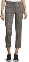 Etro Bark-Print Slim-Leg Capri Pants, Black