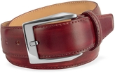 Pakerson Men's Wine Red Hand Painted Italian Leather Belt