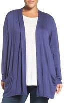 Sejour Slub Knit Open Front Cardigan (Plus Size)