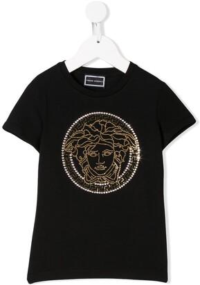 Versace Kids studded medusa T-shirt