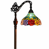 AMORA Amora Lighting AM035FL12 Tiffany Style 62-inch Roses Reading Floor Lamp