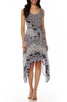 Robbie Bee Sleeveless Printed Handkerchief-Hem Dress