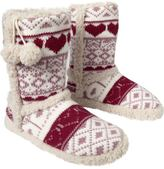 Women's Fair Isle Pom-Pom Slipper Boots - Red Hearts