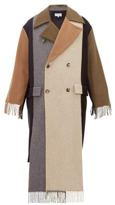 Loewe Contrast-panel Fringed Cashmere Trench Coat - Mens - Multi