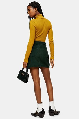 Topshop Green Corduroy Mini Skirt