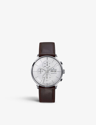 Junghans Mens Silver 027/4120.01 Meister Stainless Steel And Leather Chronoscope Watch