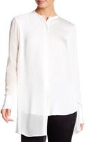 DKNY Grandad Asymmetrical Silk Blend Blouse