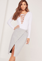 Missguided Belt Tie Faux Suede Midi Skirt Grey