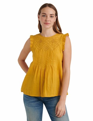 Lucky Brand Women's Sleeveless Crew Neck Shiffly Ruffle Top
