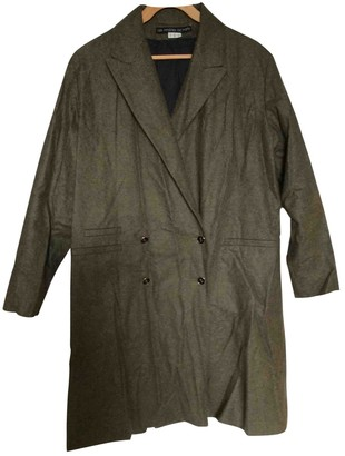 Les Prairies de Paris Green Wool Coat for Women