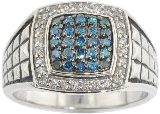 JCPenney FINE JEWELRY Mens 3/4 CT. T.W. White & Color-Enhanced Blue Diamond Ring