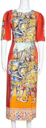 Dolce & Gabbana Multicolor Soldiers Print Crepe Sheath Dress M
