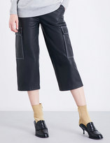 Loewe Wide cropped high-rise leather trousers