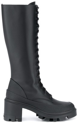 Moncler Leather Lace-Up Military Boots