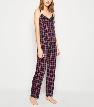 New Look Check Lace Trim Pyjama Trousers