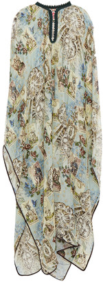 F.R.S For Restless Sleepers Gige Satin-trimmed Printed Cotton And Silk-blend Voile Kaftan
