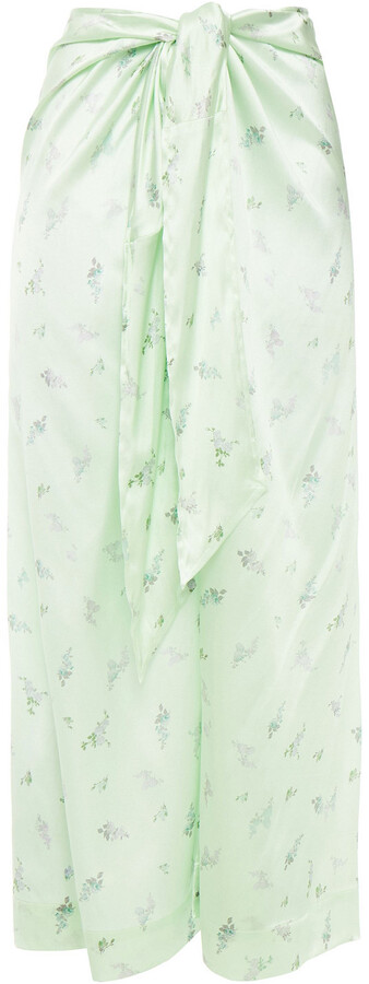 Thumbnail for your product : Ganni Knotted Floral-print Stretch-silk Satin Midi Skirt