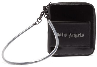 Palm Angels Logo-stamped Patent And Leather Zip-around Wallet - Mens - Black