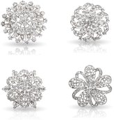 Bundle Monster Womens Fancy Vintage Clear Crystal Bling Bezel Flower Fashion Brooch Set - 1
