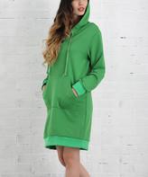Z Avenue Women's Sweater Dresses Green - Green Lace-Up Hooded Tunic Dress - Women & Plus