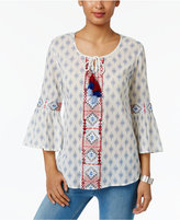Style&Co. Style & Co Petite Cotton Printed Peasant Top, Only at Macy's