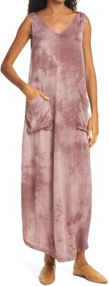 Raquel Allegra Grosgrain Trim Tie Dye Maxi Dress
