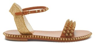Christian Louboutin Cordorella Spike-embellished Leather Sandals - Tan Gold