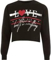 River Island Girls black 'love' foil print sweatshirt