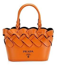 Prada Women's Small Woven Leather Tote