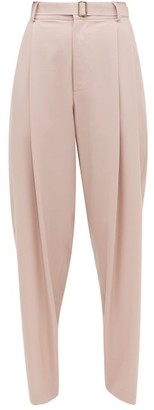 Edward Crutchley Belted Wool-crepe Wide-leg Trousers - Womens - Pink