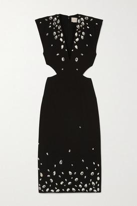 Christopher Kane Crystal-embellished Cutout Cady Midi Dress - Black