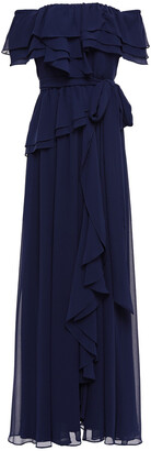 Badgley Mischka Off-the-shoulder Ruffled Georgette Gown