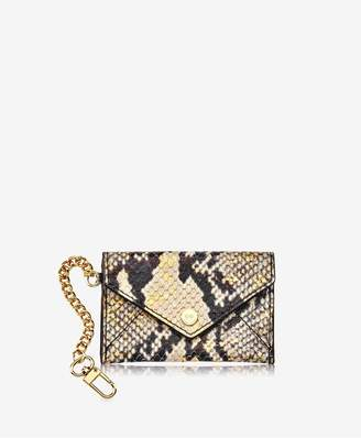 GiGi New York Mini Envelope With Clip In Gold Wash Embossed Python