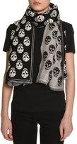 Alexander McQueen Clashy Skulls Wool Scarf, Black/White