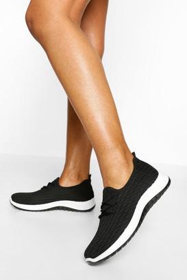 boohoo Basic Knitted Running Trainer