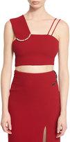 David Koma Sleeveless Wool Crepe Crop Top, Red