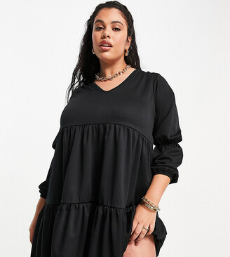 Yours tiered midi dress with puffed sleeves in black