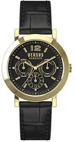Versus By Versace Unisex SOR020015 MANHASSET Gold Ion-Plated Watch with Black Leather Band